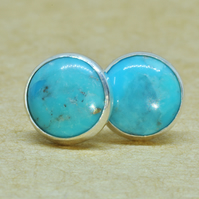 Turquoise earrings, Sterling Silver Earring studs, 8 mm December birthstone