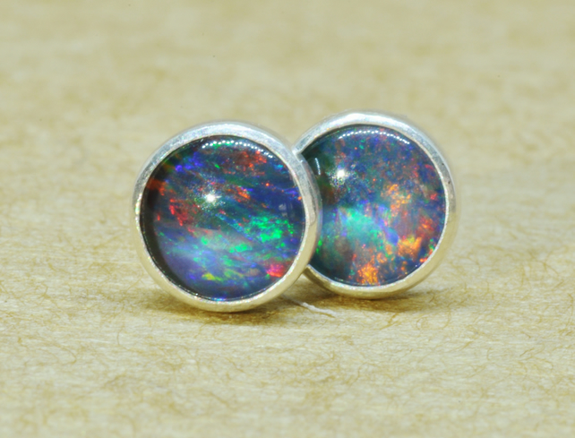Blue Opal Earrings, Sterling Silver studs. 5mm gemstone jewellery