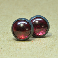 Garnet Earrings, Garnet jewellery 6 mm January birthstone gift