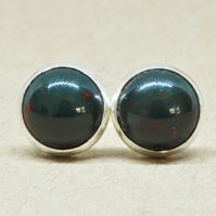 Bloodstone earrings, Aries Birthstone jewellery studs in Sterling silver, 8mm