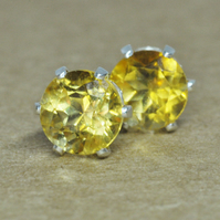 Citrine Earrings, Sterling Silver faceted Studs. 5mm gemstone birthstone