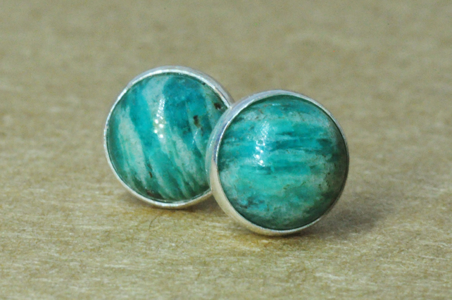 Green Amazonite Earrings, Sterling Silver studs, handmade 6mm natural jewelry