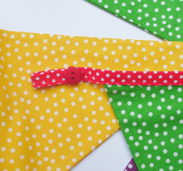 Bunting,fabric bunting,bright and spotty,nurserydecoration,birthday bunting
