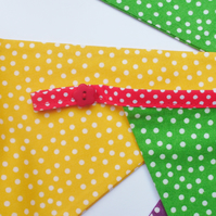 Bunting,fabric bunting,bright and spotty,nursery decoration,birthday bunting