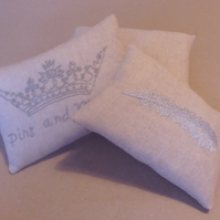 Pin cushion,embroidered pin cushion,pincushion,feathers,metalic embroidery