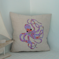 Octopus cushion cover,appliqued cushion cover,purple octopus