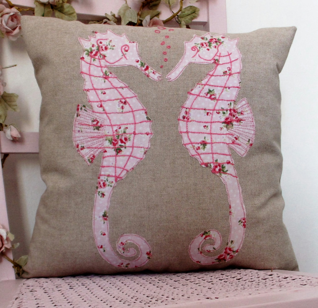 Cushion,sea horses applique pillow,appliqued cushion cover,pink sea horses
