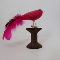 Pink bird needle felted,Valentine gift,Christmas decortion