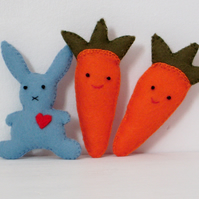 Rabbit brooch,textile brooch,carrot brooch,kawaii jewellery