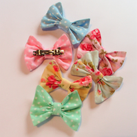 Hair bows, fabric hair clips set of three