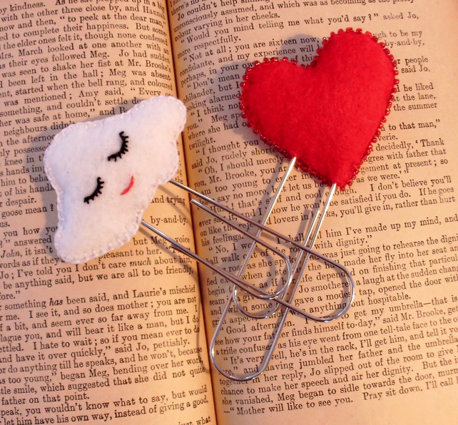 Paper clip bookmark, heart or cloud, planner accessories,  bookmarks,