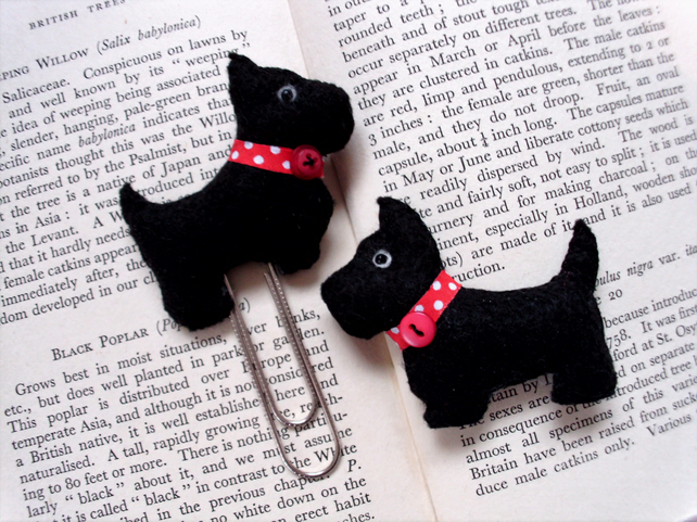 Scottie dog planner clip and brooch set,planner accessories,bookmark ,dog brooch