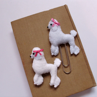 Felt poodle planner clip and brooch set,planner accessories,felt brooch,bookmark