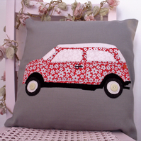Mini car cushion, appliqued pillow, car cushion, red floral car, nursery decor