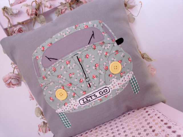 Applique cushion,cushion, pillow cover, applique beatle car cushion, vw beatle