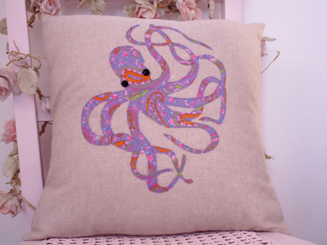 Octopus cushion cover, appliqued cushion cover, purple octopus