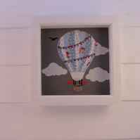 HOT AIR BALLOON APPILQUE PICTURE , NURSERY ART, NURSERY DECOR