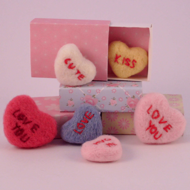 Needle felted love hearts, personalised heart, wedding favors, love hearts,