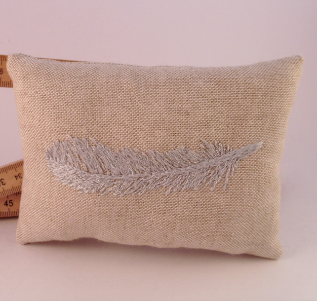 Pin cushion, embroidered pin cushion, pincushion, feathers, metalic embroidery