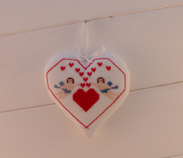 Heart door hanger, cross stitch, Cherubs embroidery, valentine gift