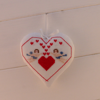 Valentines gift,home decor,hearts and cherub cross stitch,door hanger