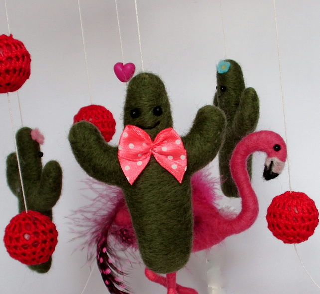 Nursery mobile,needle felt,flamingo and cactus,nursery decor,baby shower,gift,