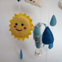 Nursery mobile,needle felt,cloud mobile,nursery decor,baby shower,gift