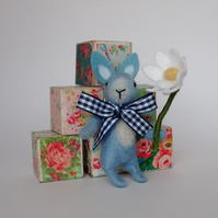 Needle felt bunny rabbit,little blue rabbit,nursery decor,baby shower gift,