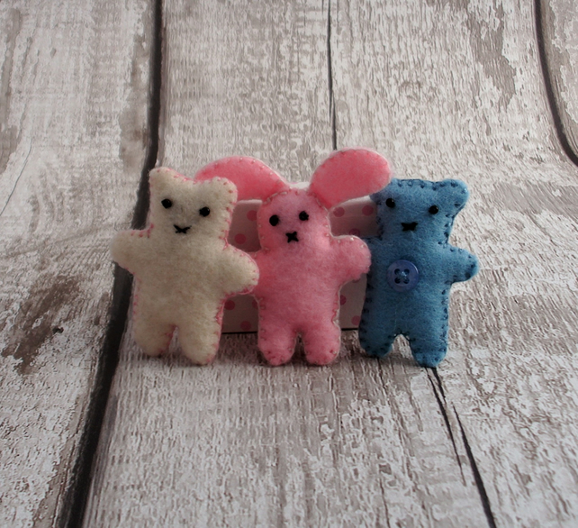 Felt animals,match box toys,felt bear,felt rabbit.