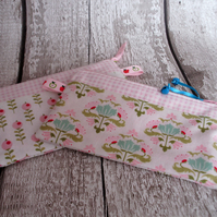 PINK CHECKED  PINK FLORAL PURSE,COIN PURSE,FABRIC PURSE,PURSE