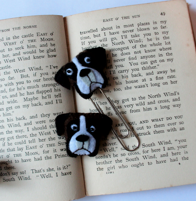 Felt boxer dog brooch and planner set, planner accessories, felt brooch,bookmark