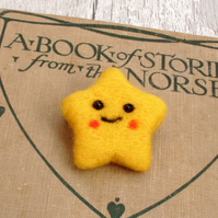Star brooch,needle felt brooch, needle felted,star ,Kawaii jewellery,brooch