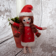 Christmas Elf, needle felt Santa, Christmas decoration, tree decoration,