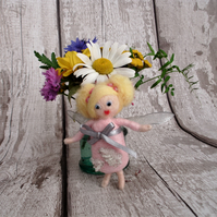 Pink fairy,needle felt,baby shower,fairy tale nursery decoration