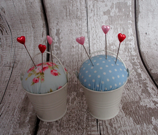 Bucket pin cushion,pin cushion, sewing accesories,craft room,