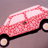 Mini car cushion,applique pillow,classic car cushion, floral car,nursery decor