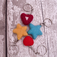 Star key ring, heart keyring ,needle felted keyring,needle felting