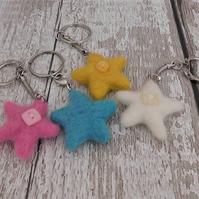 Star keyring,keychain,needle felted,felt star,bag accessories