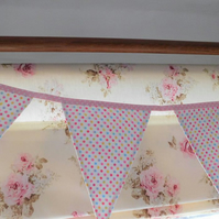 Spotty fabric bunting,wedding decoration,nursery decoration