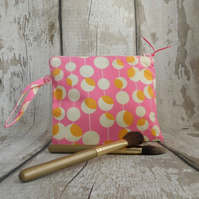 Make up bag, pink cosmetic purse, toiletries bag,bridesmaid gift