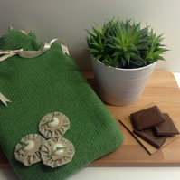 Hand Knitted Lined Hot Water Bottle Cover - Green