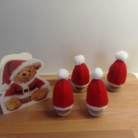 Set of 4 Egg Cosies - Christmas Hat Decorations