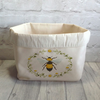 Bee Canvas Storage Basket - Fabric Storage Bin - Bumble Bee