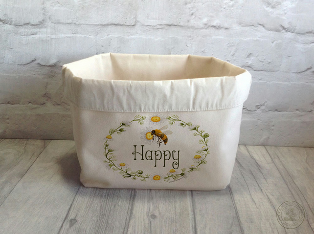 Fabric Storage Basket with Bee Happy