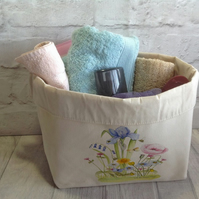 Fabric Storage -  Spring Flowers Fabric Storage Basket, Fabric plant pot