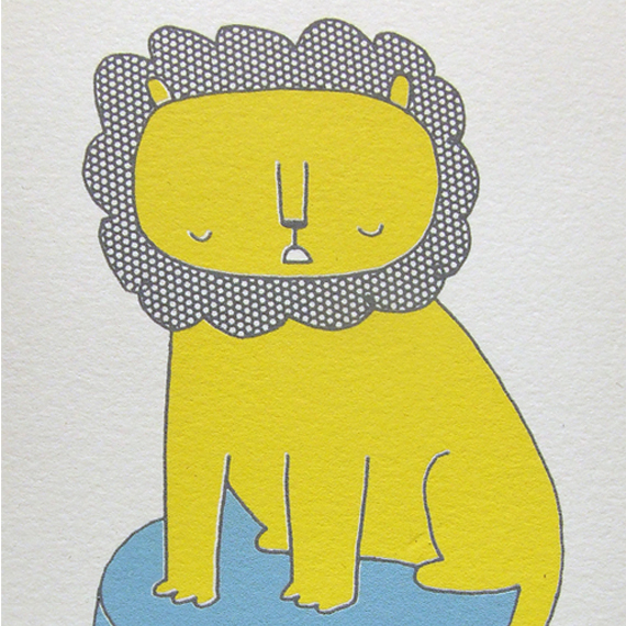 Lion on a Circus Stand Screenprint