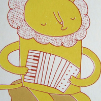 Accordion and Lion - Original Screen-print