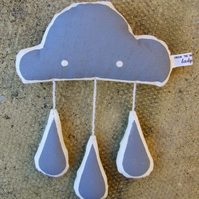 Screen-printed Raincloud Plush with Grey Raindrops