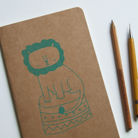 Circus Lion - Screen-printed Notebook Journal Moleskine