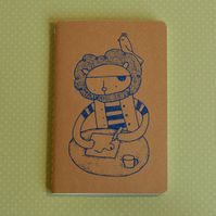 Pirate Lion - Screenprinted Notebook Journal Blue